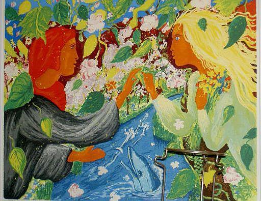 Norryd, Mats, färglito, personer i landskap med