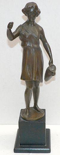 Keck, Hans, skulptur, brons på träsockel, kvinna i