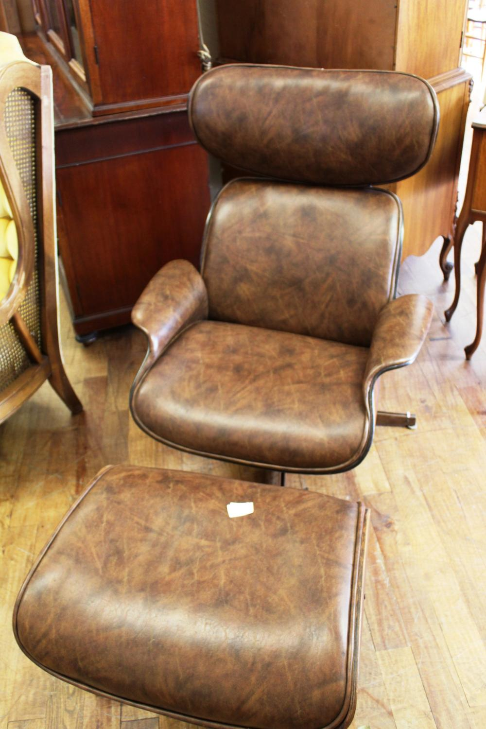 Groovy Faux Leather Eames Style Chair And Ottoman Squirreltailoven Fun Painted Chair Ideas Images Squirreltailovenorg