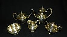 Lovely 5 piece Silver plate, Craftsman style, Wilcox tea set.