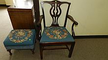 Nice carved and needlepoint seat and arm chair, SSR