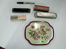 Tray With 4 Harmonicas.