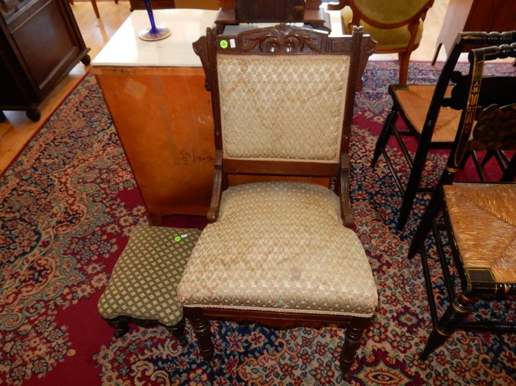 Antique carved parlor chair cond g vg upholstery needs clea for Furniture upholstery tacoma