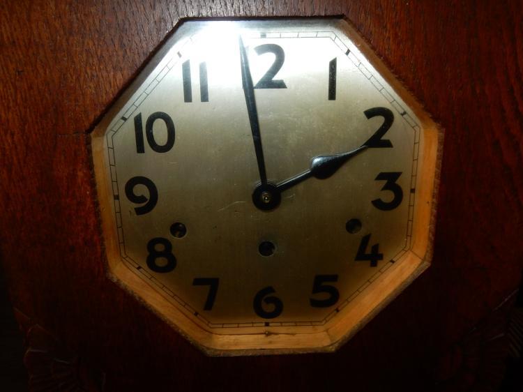 Wall Clock Floral Design : Nice antique art deco carved case wall clock floral design