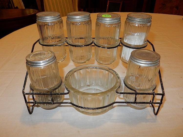 Unique antique kitchen queen spice set in wire rack with jar for Kitchen queen set