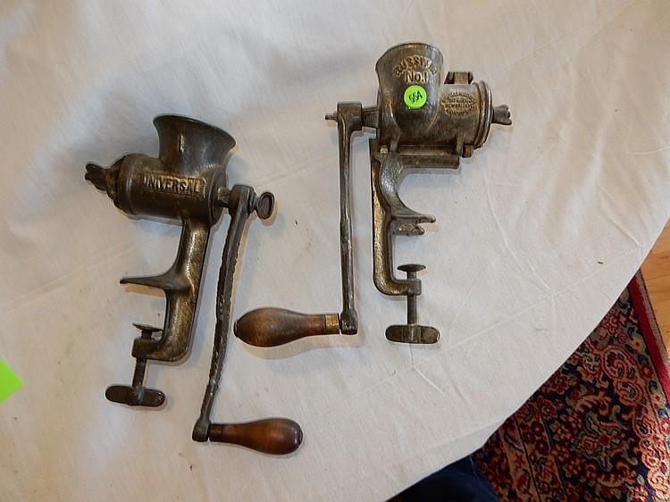 2 piece primitive hand crank sausage grinders
