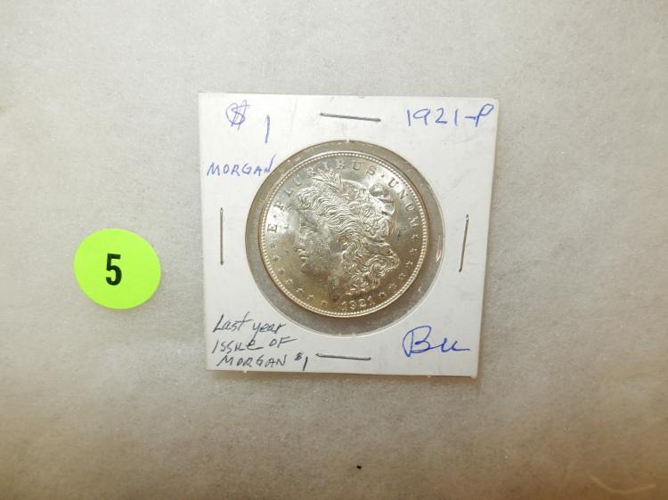 Nice U.S. Morgan silver dollar 1921-P (last year of issue)