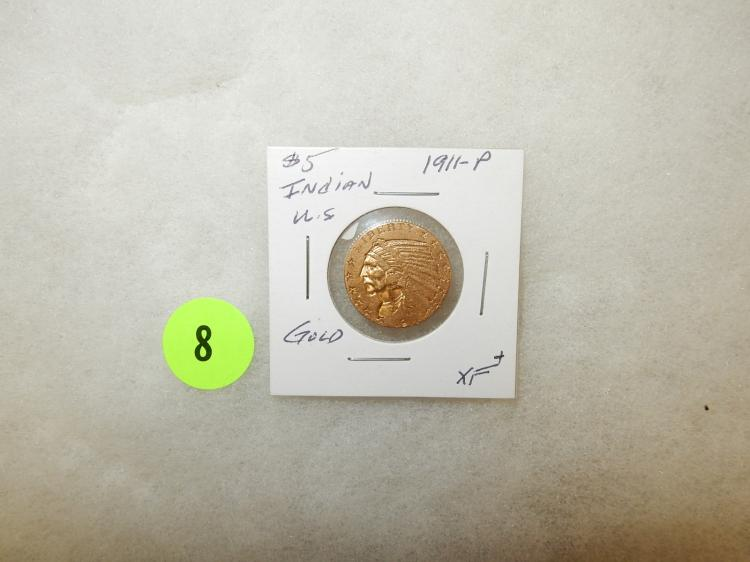 Nice U.S. Gold $5 Indian coin 1911-P Ch XF