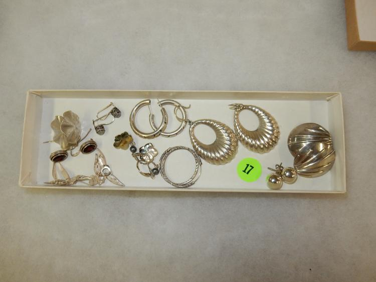 Collection of 10 pair of vintage sterling silver earrings