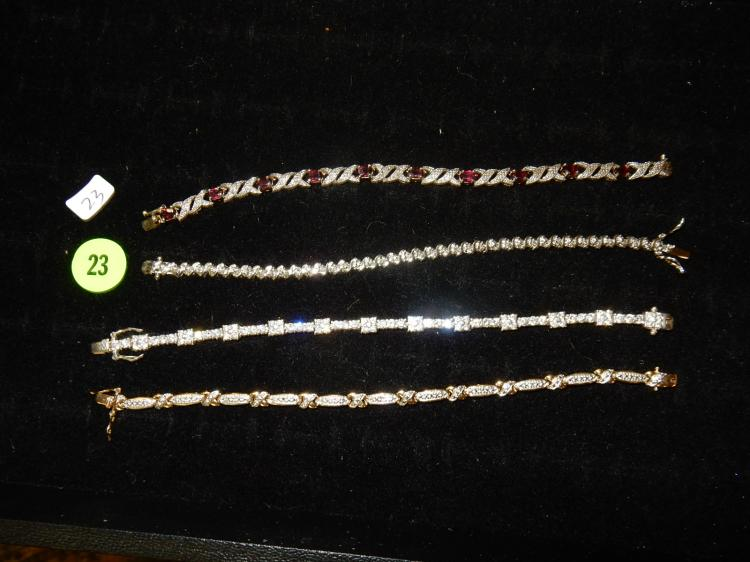 Selection of 4 very nice vintage sterling silver bracelets with stones