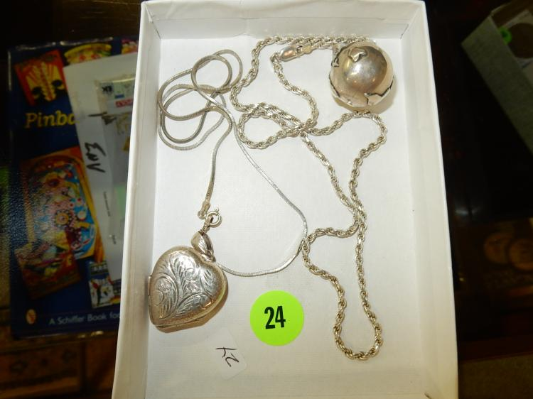 Pair of 2 vintage sterling silver necklaces with large unusual silver pendants