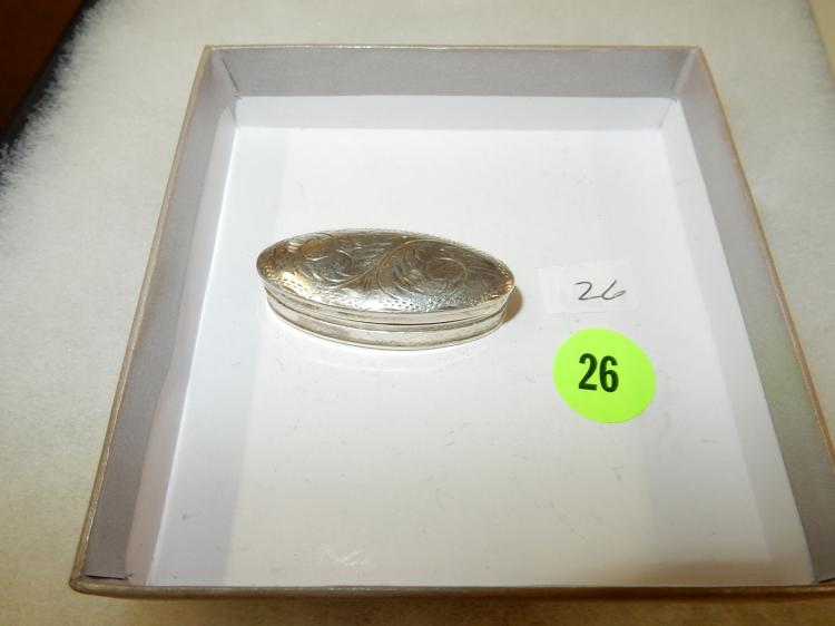 Nice fancy engraved antique? sterling silver pill box w/dent