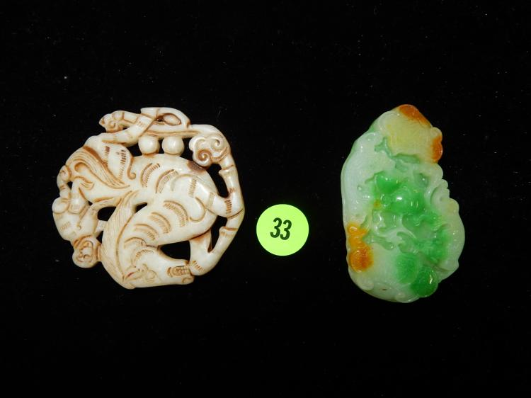 2 Unusual carved Chinese stone pendants (1 of jadeite)