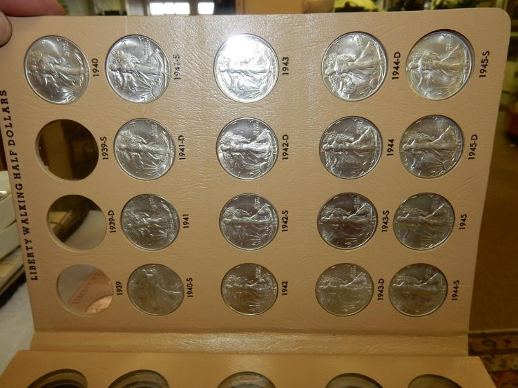 Group of US Walking Liberty Half Dollars total of 23 coins