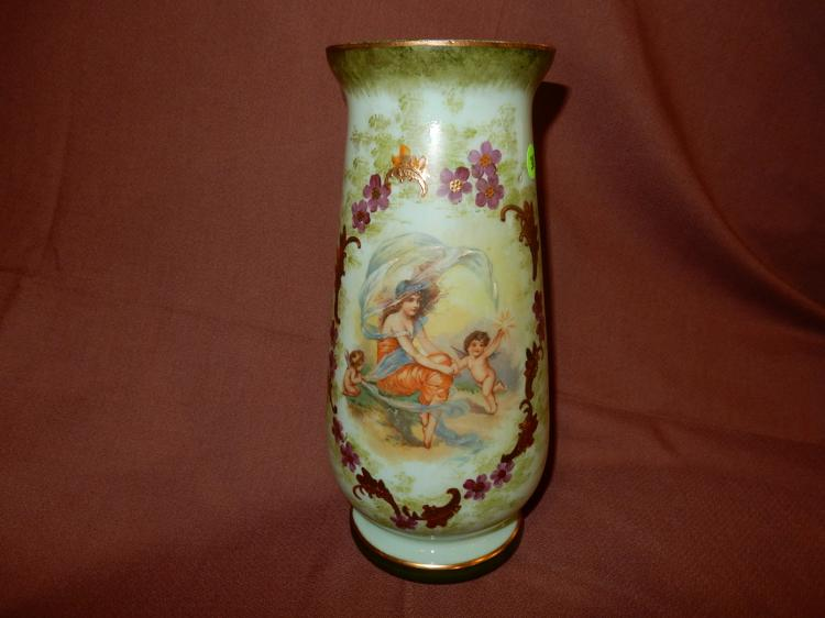 Large antique hand painted Bristol blown glass vase with woman and angel scene, cond VG