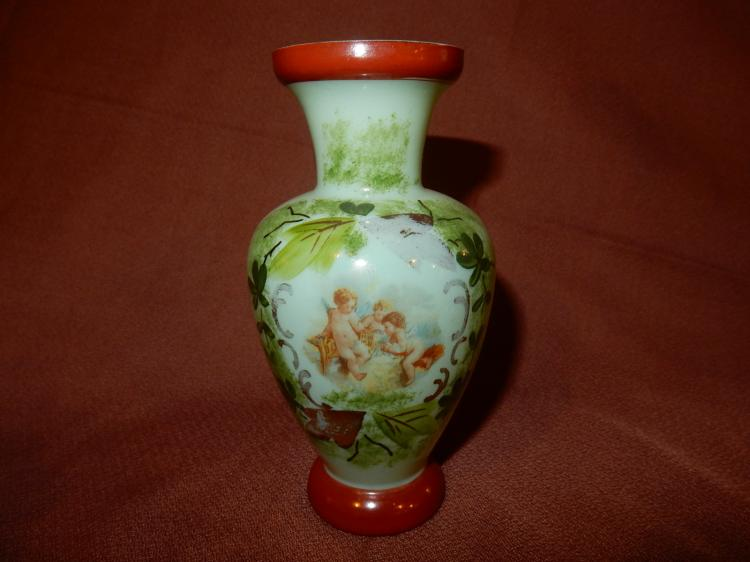 Nice antique hand painted Bristol vase with angel scene, cond G-VG, minor paint loss,