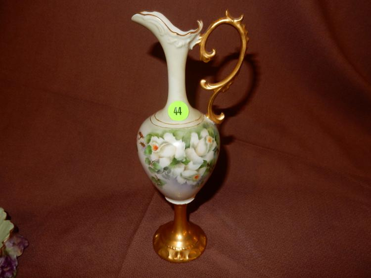 Nice slim hand painted porcelain ewer, floral design, marked RS Germany, cond VG