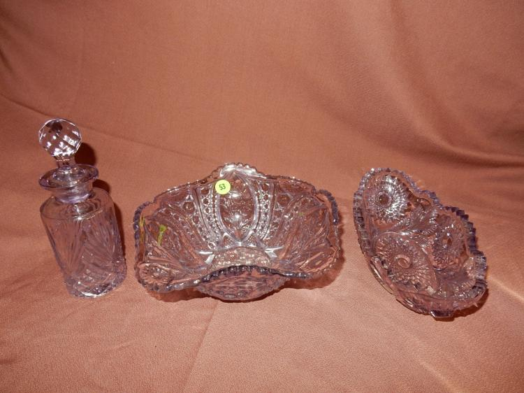 Lovely 3 piece amethyst glass bowls & scent bottle, COND VG