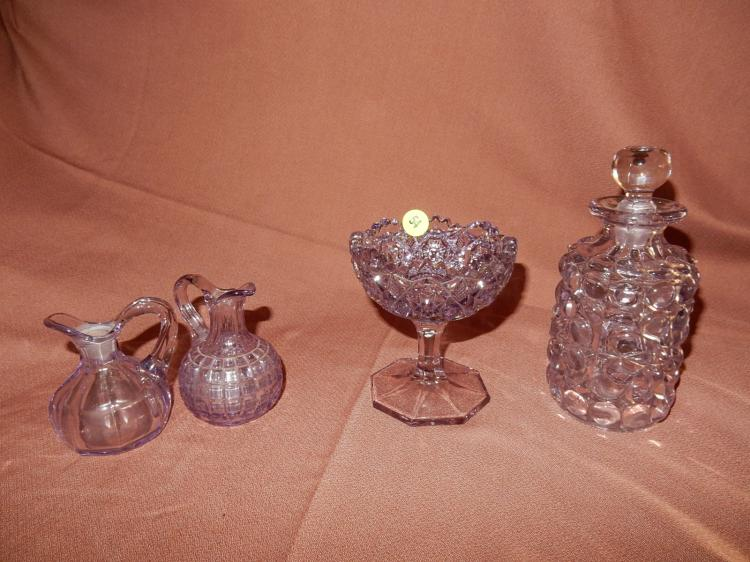 Lovely 4 piece amethyst glass bowl, cruets & scent bottle, COND VG