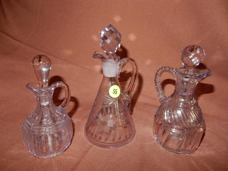 Lovely 3 piece amethyst glass cruet bottles w/stoppers, COND VG