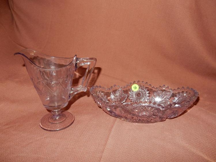 Lovely 2 piece amethyst glass bowl & cream pitcher, COND VG