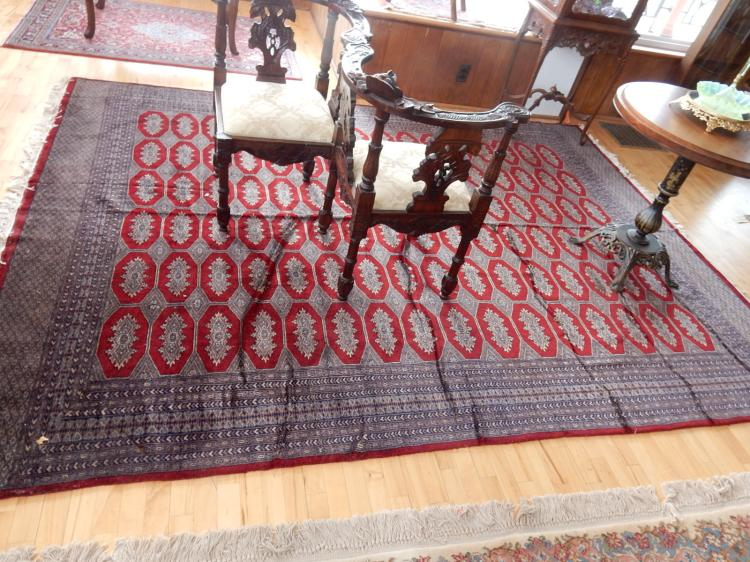 Nice quality Bokhara Pakistan hand knotted 100% wool rug, with Arts & Crafts style diamond pattern. Estate paid $2800. COND VG