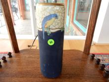 Lovely hand painted cylinder vase with blue bird motif, marked on base. COND G-VG, matte blue paint base shows scuffs