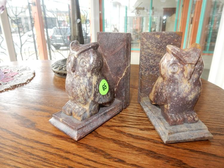 2 piece unique hand carved alabaster? owl bookends, COND VG, age?