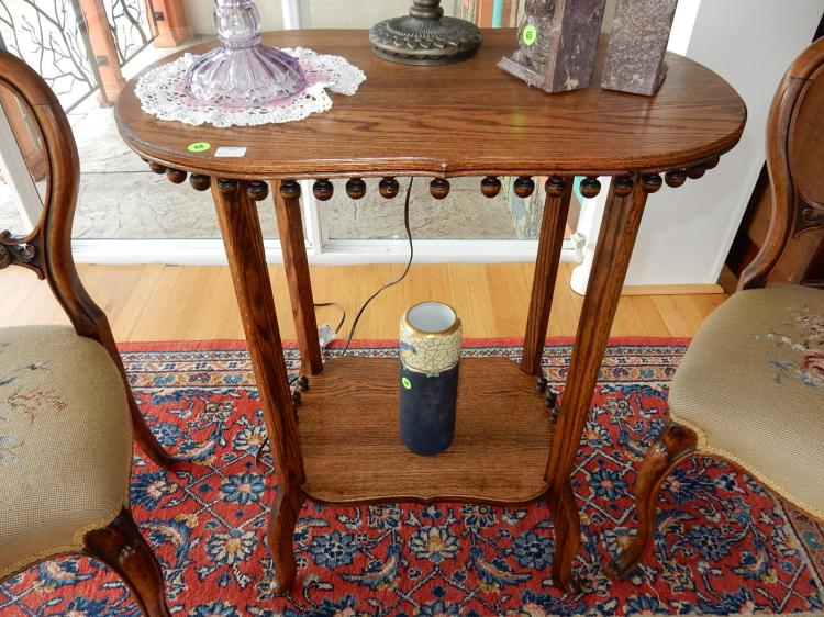 1) Beautiful antique carved American oak, stick & ball parlor table, professionally refinished. COND VG. Special shipping required