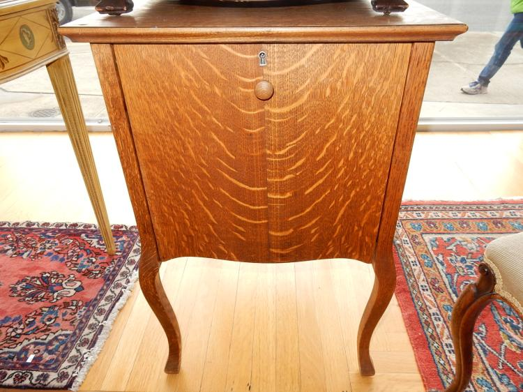 Nice antique, American oak, floor model, fall front, phonograph stand / record cabinet. Special shipping required