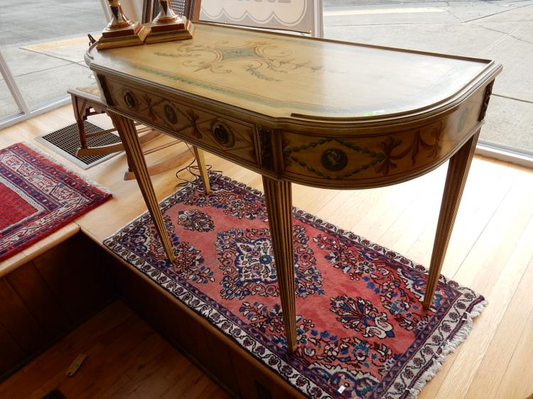 Lovely French style, factory painted foyer / sofa table, with portrait & floral design, tapered legs. COND VG -minor scuff. Special shipping required