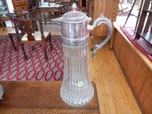 Nice vintage silver plated & pressed glass wine pitcher, COND VG