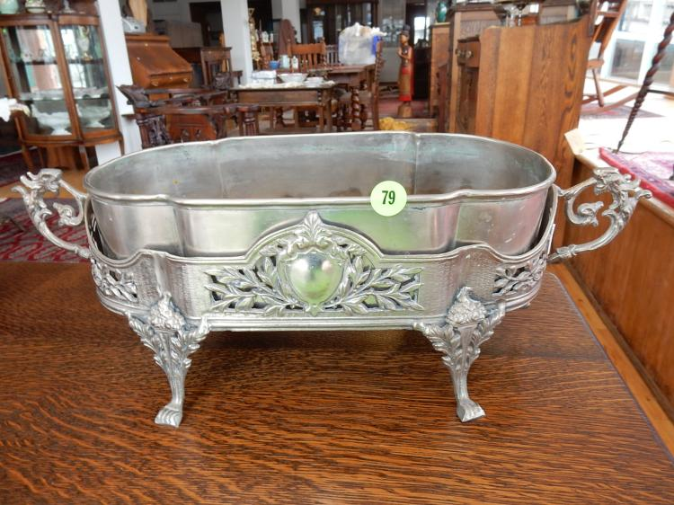 Unique silver plated planter with insert, shield, floral & animal design, COND VG