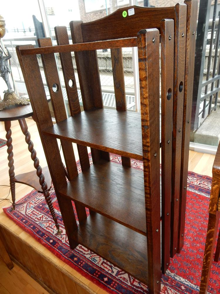 7) Nice antique American oak Arts & Crafts slat sided, 4 shelf bookcase, professionally refinished. COND VG. Special shipping required