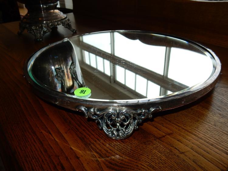 Nice antique art nouveau silver plated mirror plateau, COND VG