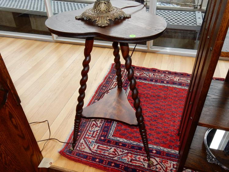 Lovely, antique American oak, clover leaf, tri foot, barley twist parlor table, lower support, glass ball & claw feet, professionally refinished. Special shipping required