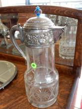Vintage, etched glass and silver plated wine pitcher, with center ice tube, raised fruit design, lid has replaced topper