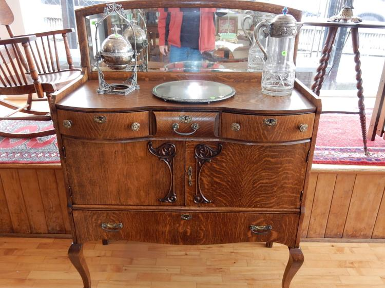 Outstanding! Antique American oak server / buffet, bow front drawers, applied carvings, mirrored backsplash & claw foot, professionally refinished. COND VG. Special shipping required