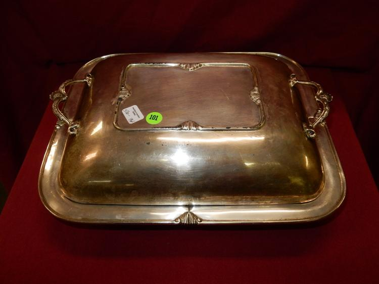 34) Large vintage Sterling Silver lidded serving dish, base stamped .925 Mexico Caral?, total gram weight 2115 (approx)