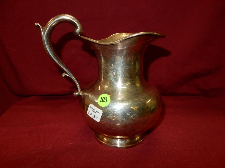 37) Vintage Sterling Silver pitcher, stamped Caral Sterling total gram weight 651 (approx) base as found