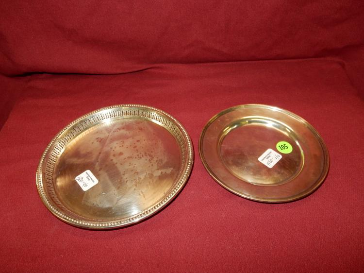 40) 2 piece sterling silver small round dish,