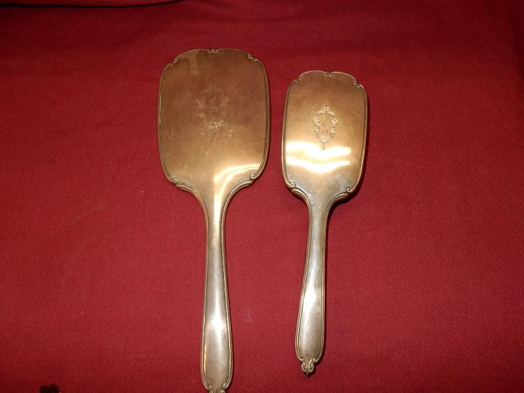 2 piece antique sterling silver vanity brush and mirror set