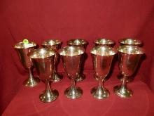 38) 9 Piece sterling silver goblets, wine cup, stamped Newport Sterling, total gram weight 1152 (approx)