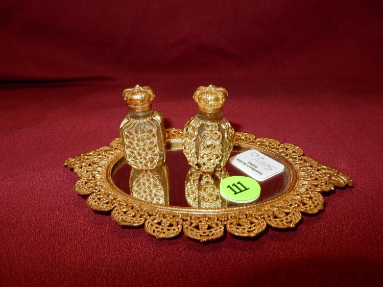 20) Lovely ladies petite gold plated filigree scent bottles on tray