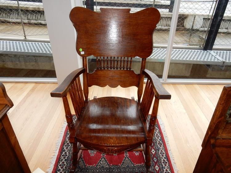 15) Lovely antique American oak rocker, special shipping required