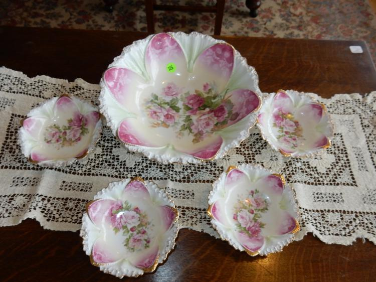 Nice vintage RS Prussia porcelain berry bowl set with large bowl and 4 small bowls, floral design, cond VG