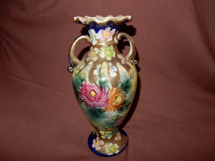 Nice antique hand painted vase, floral design, fluted top with double handles