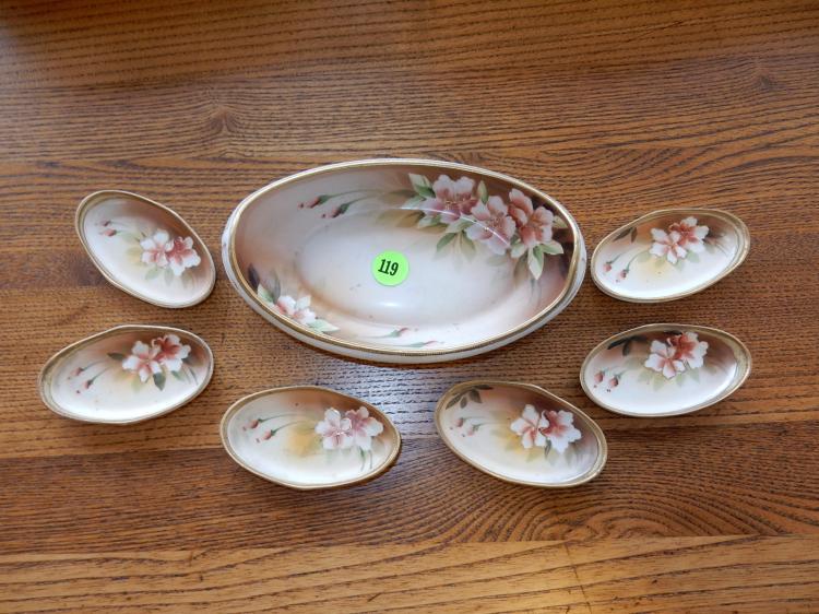 Vintage small Nippon porcelain nut dish set, floral design, cond VG