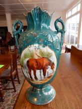 Unique vintage porcelain painted vase with man with horses scene, cond VG