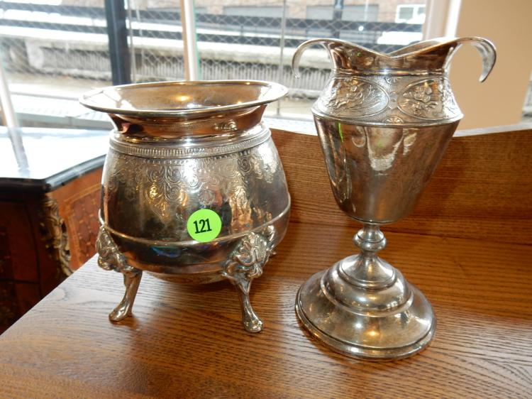 2 piece antique silver plated vase and waste pot with angel and lion design